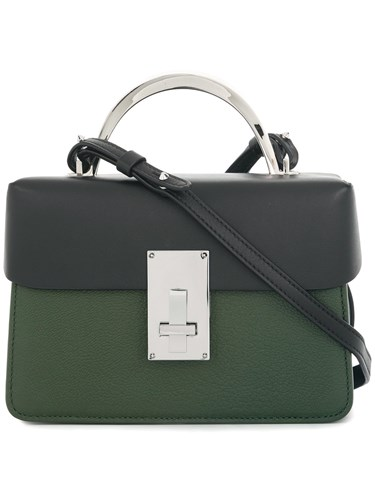 The Volon Fold Over Shoulder Bag Cotton Calf Leather Goat Skin Polyester Green CSTYy7