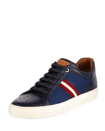 Bally Herk Men's Mesh And Leather Low Top Sneaker Navy ji5grYzuj