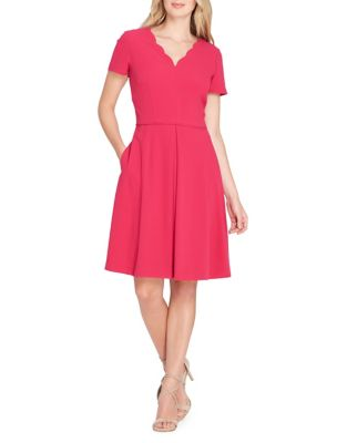 Tahari by Arthur S. Levine Pleated Fit And Flare Dress Raspberry MdVNaO85rf