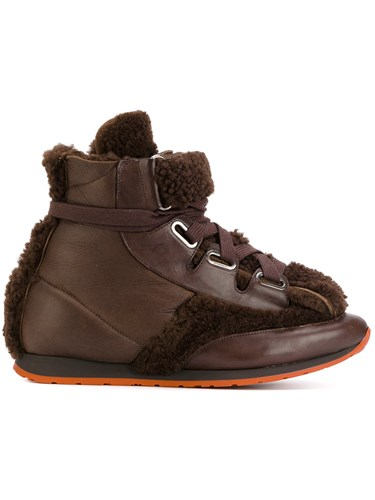 Vivienne Westwood Man Lace Up Hi Tops Leather Sheep Skin Shearling Rubber Brown qLyxmv