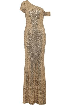 Badgley Mischka One Shoulder Sequined Mesh Gown Gold e6qJz