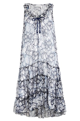 See by Chloe Flower Python Printed Dress In Cotton And Silk Blue QF2qhLPdf5
