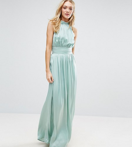Little Mistress Tall Ruched Pleated Maxi Prom Dress Green OO8H58Zw