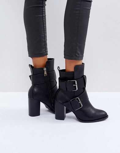 Glamorous Black Double Buckle Heeled Ankle Boots Black 681Cn5xS