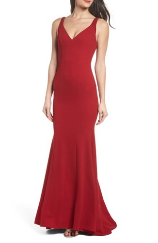 Lulus 'S Embellished Strap Trumpet Gown Deep Red cGG2iujmS