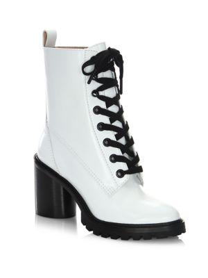 Marc Jacobs Ryder Lace Up Leather Booties White Evfq2eLeOb