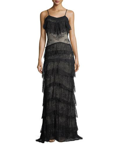 Haute Hippie Tiered Lace V Neck Sleeveless Column Evening Gown Black uACbOLR3