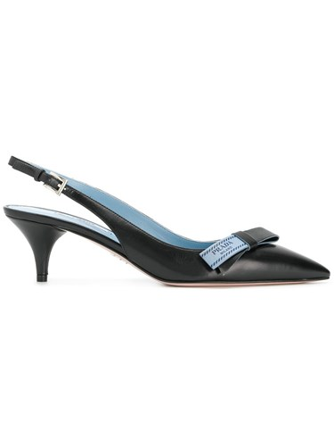 Prada Sling Back Pumps Calf Leather Leather Black UmdlJUbDt