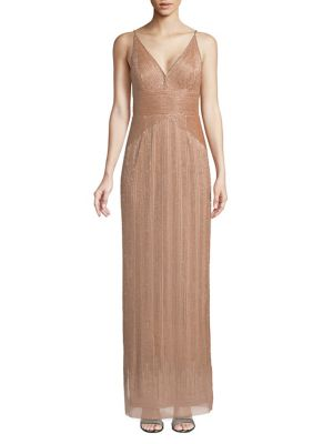Adrianna Papell Beaded V Neck Maxi Gown Rose Gold S8VrB3