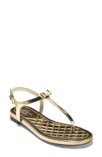 Cole Haan Tali Bow Sandal Gold Specchio Leather 1nxgwD