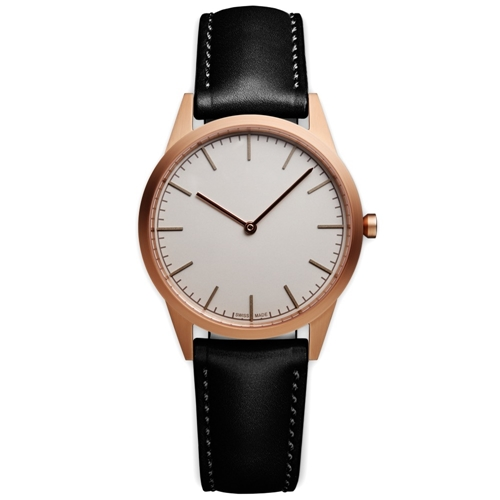 C35 Wristwatch Pvd Satin Gold And Black Leather