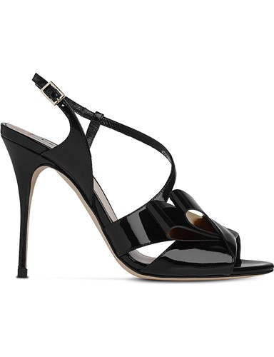 LK Bennett Erica Asymmetric Patent Leather Sandals Bla Black Gold 1cHKsZa