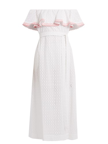 Lisa Marie Fernandez Mira Ruffle Trimmed Broderie Anglaise Cotton Dress White Multi tDeH2Sxpwv