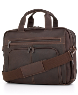 Kenneth Cole Reaction Colombian Leather Expandable Double Gusset Laptop Brief Dark Brown brHeKZ