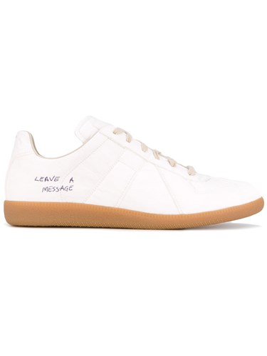 Maison Martin Margiela Lace Up Sneakers Men Leather Polyester Rubber 45 White DKvzE
