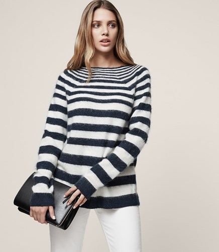 Reiss Esha Striped High Neck Knit In White 6BeFD
