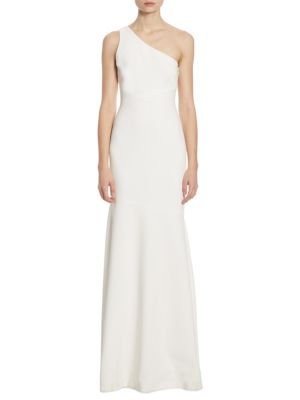 Cinq à Sept Dulcina One Shoulder Gown Ivory Navy JkVt15p