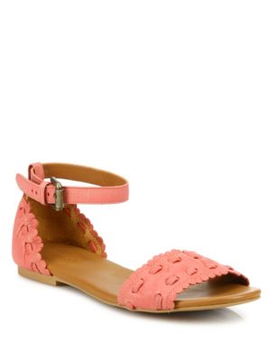 See by Chloe Jane Whipstitch Leather Ankle Strap Sandals Calypso Royale Biscotto A4oYxZc