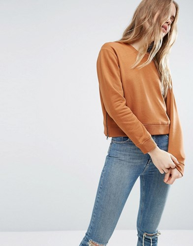 Sweatshirt With Zip Detail In Cropped Boxy Fit Tan