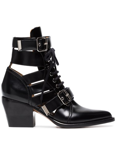 Chloé Black Reilly 60 Leather Buckle Ankle Boots SNCs9