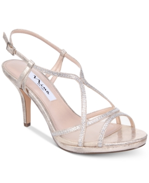 Nina Blossom Strappy Embellished Evening Sandals Women's Shoes Champagne Satin 4ila7tBB