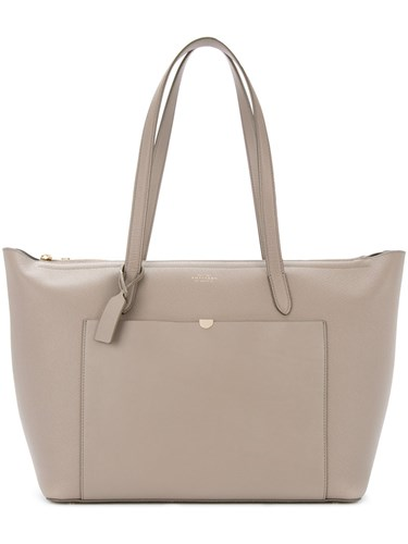 Smythson Classic Tote Bag Unisex Calf Leather Grey f5anZ
