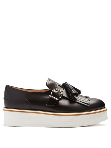 Tod's And Creepers Tasselled Fringed Leather Black PwPOR