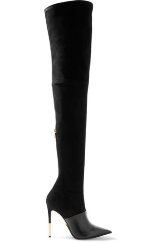 Balmain Amazone Suede And Leather Over The Knee Boots Black Usd EVOyozM