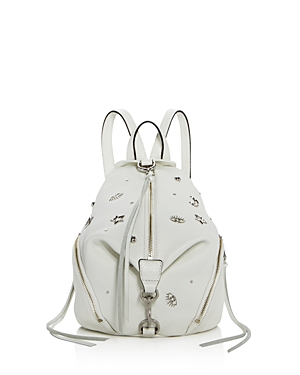 Rebecca Minkoff Medium Julian Leather Backpack Bianco White Silver AG7uRwL9Y