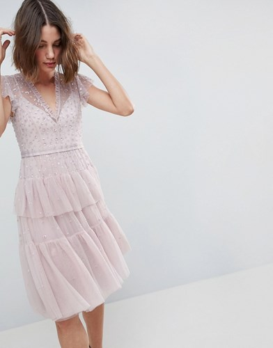 Needle & Thread Layered Midi Dress With Lace Detail Purple nJG01dO