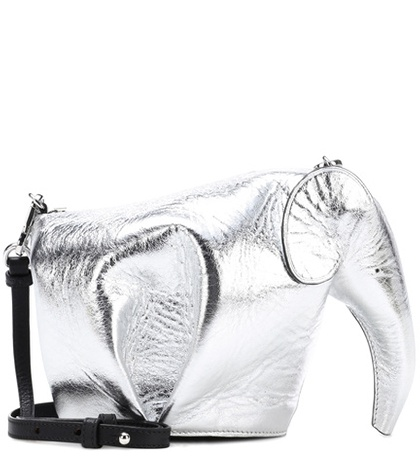 Loewe Elephant Mini Leather Shoulder Bag Silver sWOmskV