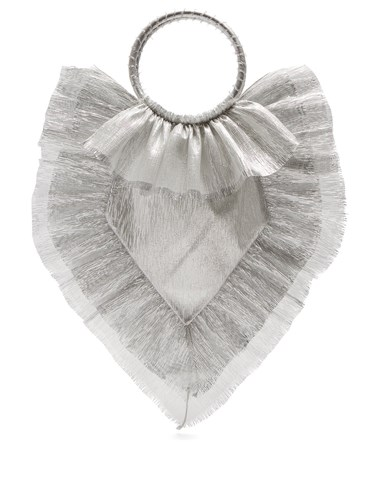 THE VAMPIRE'S WIFE Ruffle Trimmed Woven Clutch Silver AxHy3lmNt