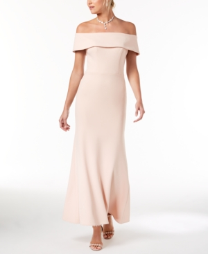 Betsy & Adam Petite Off The Shoulder Crepe Bustle Gown Blush w4u6PIno