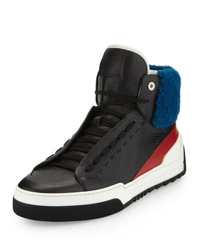 Fendi Leather High Top Sneaker With Sheep Fur Black Red Blue Black Red Blue WUBG7Tr