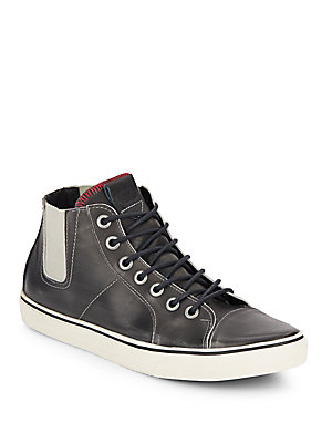 GOLD & GRAVY Chelsea Leather High Top Sneakers Black S3kduq1Aeh