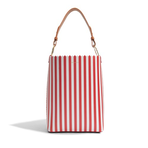 Mother of Pearl Ora Shopper Bag In Red And White Calfskin huCDn8F