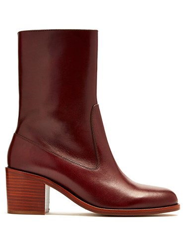 A.P.C. Eva Leather Ankle Boots Burgundy a48b0b