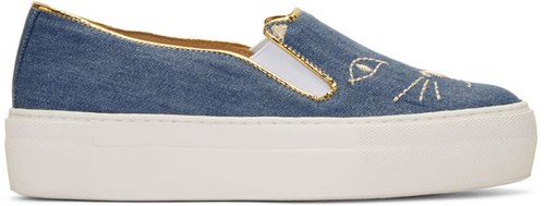 Charlotte Olympia Blue Denim Cool Cats Sneakers 8heuk