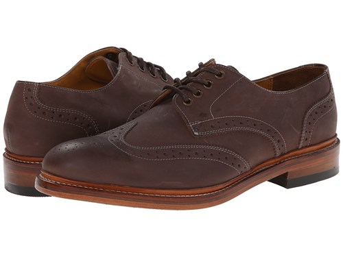 Stacy Adams Madison Ii Oxford Brown Buff Waxy Leather Lace Up Wing Tip Shoes BomYg