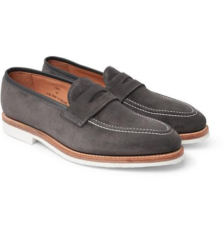 George Cleverley Capri Suede Penny Loafers Gray nelB0X9