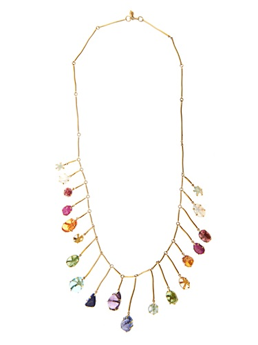 Multi Stone And Yellow Gold Necklace
