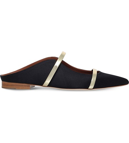 Malone Souliers Maureen Buckled Satin Flats Black kqGSome1pX