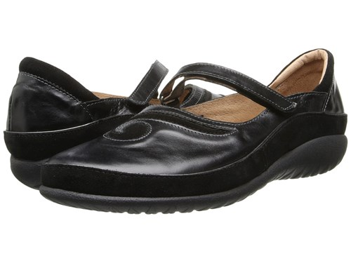 Naot Footwear Matai Black Madras Leather Black Suede Maryjane Shoes Gray UPZIVGK2x