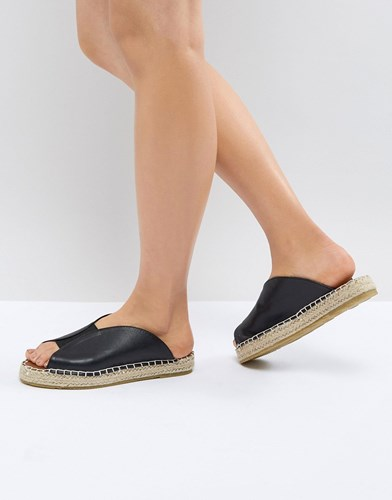 Pieces Leather Look Mule Espadrille Black 69Focr4Ry