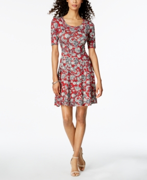 Karen Kane Printed Fit And Flare Dress Paisley 9EBSWO