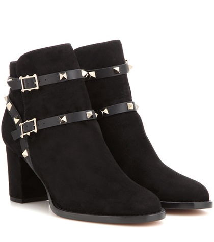 Valentino Rockstud Suede Ankle Boots Black rcwX1qP1