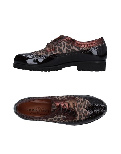 Donna Soft Lace Up Shoes Dark Brown VZgiLi