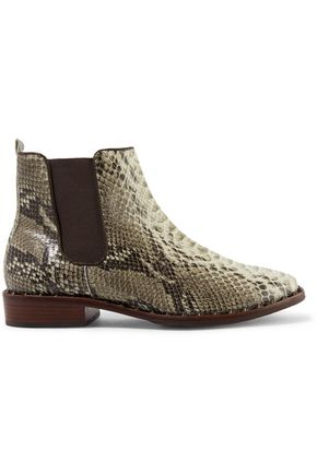 Schutz Shabba Embellished Snake Effect Leather Ankle Boots Animal Print OqkUH