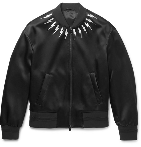 Embroidered Satin Bomber Jacket Black