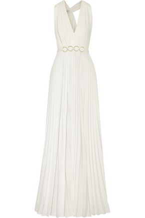 Halston Embellished Pleated Crepe Gown White TWe5g